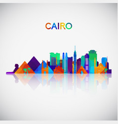 Cairo skyline silhouette in colorful geometric vector