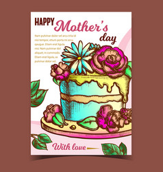 cake with flowers for mother day banner vector image