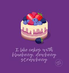 Cakes berries cream vector