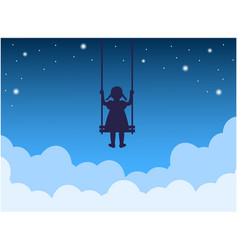 child on a swing above clouds vector image
