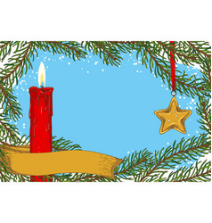 Christmas frame fir branch cande and star vector