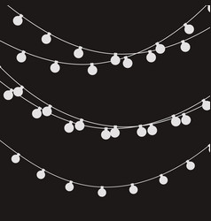 Christmas lights strings flat xmas garland vector