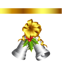 christmas silver bells and gold bow vector image