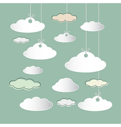 Clouds Hung on Strings on Retro Sky Background vector image