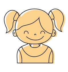 Color girl with two tails hair design vector