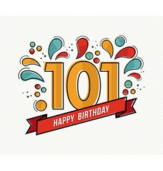 color happy birthday number 101 flat line design vector image