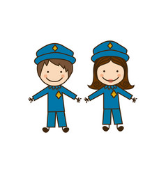 Colorful caricature couple cops costume vector