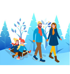 Couple with kids walk through winter park together vector