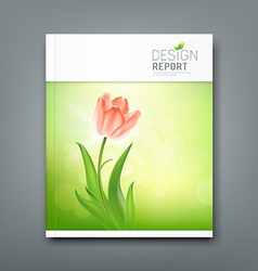 Cover magazine beautiful tulips nature background vector