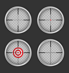 crosshair icon set realistic style vector image