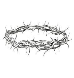 Crown thorns religious symbol hand drawn vector