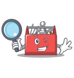 Detective tool box character cartoon vector