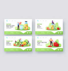 Detox landing page template set tiny characters vector