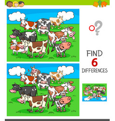 Differences game with cows animal characters vector