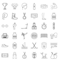 different sport icons set outline style vector image