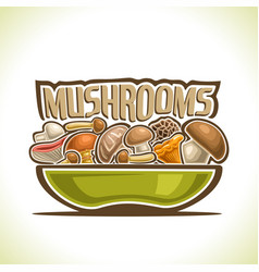 dish with edible mushrooms vector image