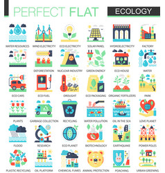 Ecology and green energy complex flat icon vector
