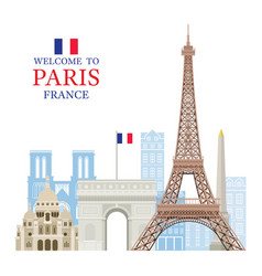eiffel tower paris france with building landmarks vector image