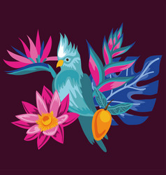 Exotic flowers and leafs with bird vector
