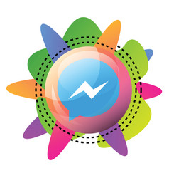 facebook messenger sign inside a bubble with vector image