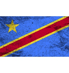 Flag of Congo Democratic Republic with old texture vector image