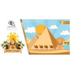 flat egypt travel colorful template vector image