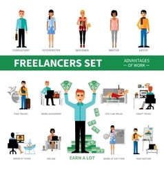 Freelancers Set With Advantages of Work vector image