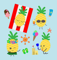 funny pineapples character for summer banner vector image