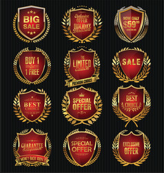 gold and red quality shields collection vector image