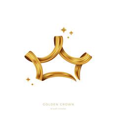 golden paint brush stroke in shape crown vector image