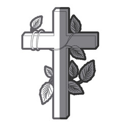 grayscale silhouette of wooden cross and creeper vector image
