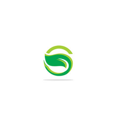 Green leaf s initial logo vector