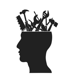 Hand tools in head vector image