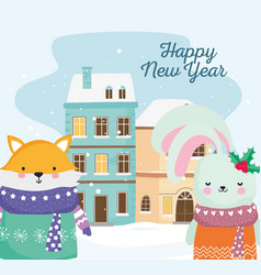 happy new year 2020 celebration cute fox and vector image