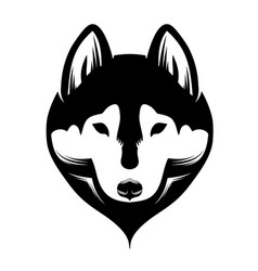 head a dog siberian husky black and white vector image