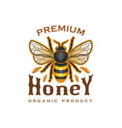 Honey bee icon for organic product label vector