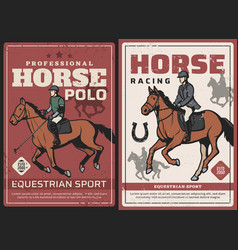 horse racing and polo sport retro posters vector image