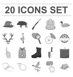 hunting and trophy monochrome icons in set vector image