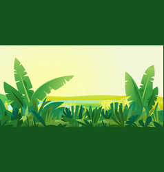 Jungle plants landscape background vector