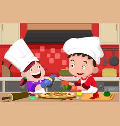 kids making pizza in kitchen vector image
