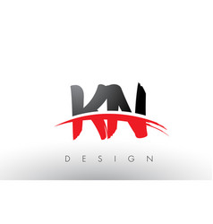 Kn k n brush logo letters with red and black vector