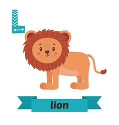 Lion L letter Cute children animal alphabet in vector