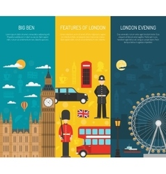 London Sightseeing 3 Vertical Banners Set vector