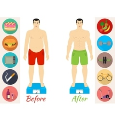 Men before and after the fitness vector image