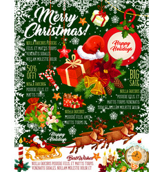 merry christmas snow greeting card vector image