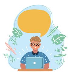 nerd little boy geek thinking vector image