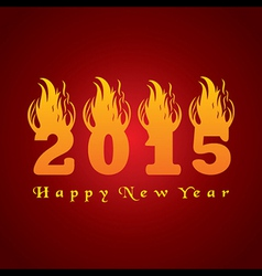New year greeting 2015 with fire vector image
