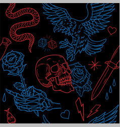 old school tattoo neon line pattern vector image