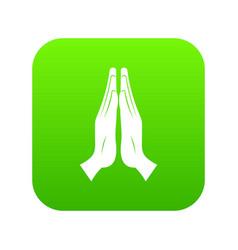 prayer icon digital green vector image