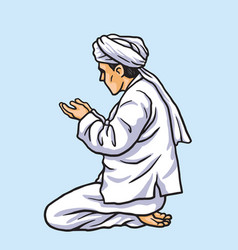 Praying in ramadan kareem vector
